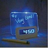 Fluorescent Message Board Blue LED Digital Alarm Clock 4 Port USB Hub Calendar
