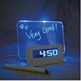 Fluorescent Message Board Blue LED Digital Alarm Clock 4 Port USB Hub Calendar